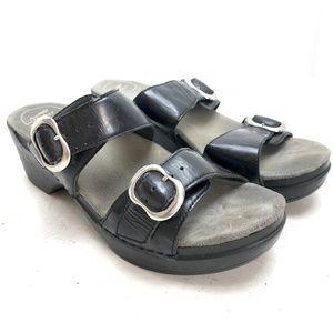 DANSKO Black Leather Sandals Slides Wedges sz 38